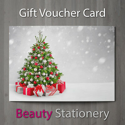 Christmas Gift Voucher Blank Beauty Salon Card Coupon Massage Therapist A7+ Env.
