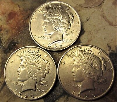 Peace Silver Dollars 1922 (2) & 1925 (1) Lot Of 3  / Higher Grade