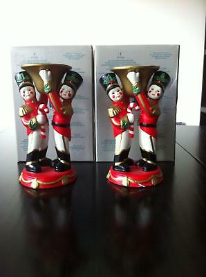 """PartyLite Christmas 6"""" Toy Soldier Candle Holder PAIR"""