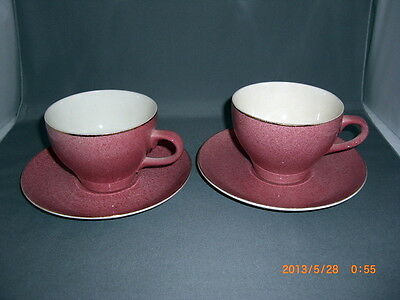 2 Vintage Royal Victoria Wade England Pink Stippled Cups & Saucers