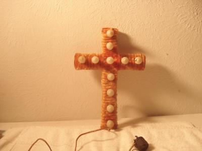 VINTAGE 1930s-40s CHENILLE LIGHTED CHRISTMAS CROSS DECORATION (VERY RARE)