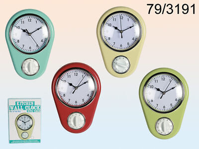 New Retro Style Kitchen Wall Clock & Timer.  Blue, Red, Light Green Or Cream Oot