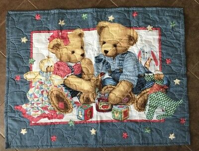 Quilted Baby Blanket Blue Jean Teddy Bear Bears Quilt Picnic Denim Overalls
