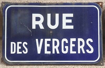 Old French enamel street sign plaque road plate Rue des Vergers trees orchards