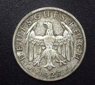 Germany 1926-E Silver 2 Reichsmark  Km#45  About Uncirculated