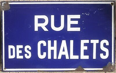 Old French blue enamel steel street sign plaque road plate name Rue des Chalets