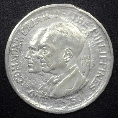 Philippines 1936 Silver Peso  Au Details Shipwreck Salvaged  Km#178