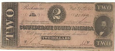 1864 $2 Dollars Confederate Currency Banknote Note Money Bill Cash Civil War Csa