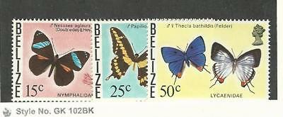 Belize, Postage Stamp, #352a, 354a, 356a Mint NH, 1974-78 Butterflies