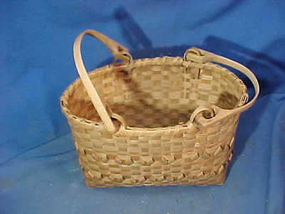 Early 20th PENOBSCOT Indian Maine HAND WOVEN Double SWING HANDLE Oval BASKET