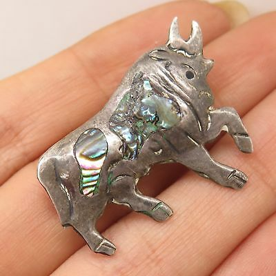 Vtg Mexico 925 Sterling Silver Abalone Shell Bull Strength Pin Brooch