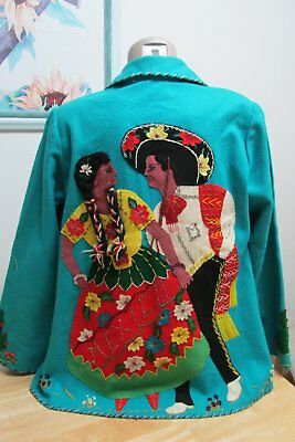 1940'S Mexican Teal Wool Jacket W Dancing Couple Applique Back & Label Sz 38