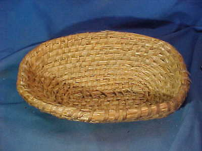 Early 20th HAND WOVEN Sweet Grass OVAL Shape BASKET 11 x 7