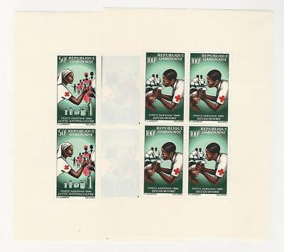 Gabon, Postage Stamp, #C41a-C42a Sheets Mint Hinged, 1966 Red Cross
