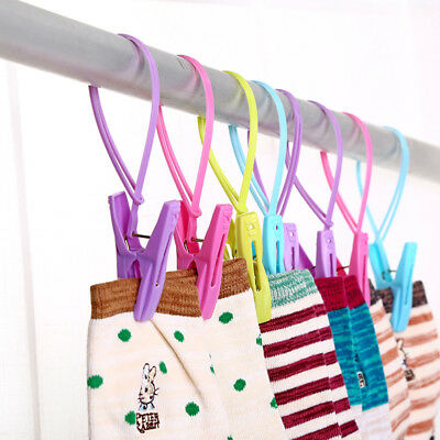 12PCS/Pack Clothes Peg Clip Pins Hanging Rope Hanger Laundry  Clothesline Tool