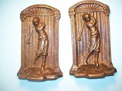 Vintage Golfer Swinging Club Book Ends Bronze