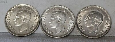 "1942-43-44 Lot of 3 *Silver* Great Britain 6 Pence ""UNC"""