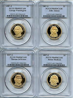 2007 S PCGS PR69DCAM Presidential Dollar 4 Coin Proof Set $1