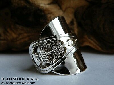 Chunky Scottish Solid Silver Spoon Ring 1973 With Thistle Detail Assay Approved