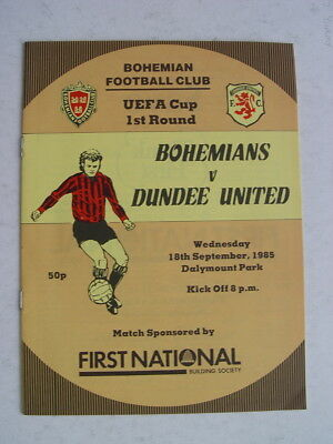 Bohemians v Dundee United 1985/86 UEFA Cup
