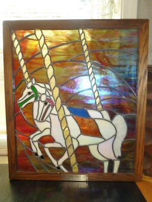 Magnusom Studio Night Mares Carousel Horse Stained Glass Wood Frame Panel 20X23""