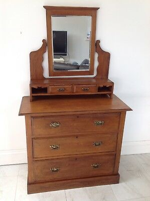 Victorian Dressing Table With Three drawers mirror top