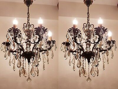 A Pair of Antique 6 arms 6 lights Cast Brass & Crystals Cherub Chandelier from 1