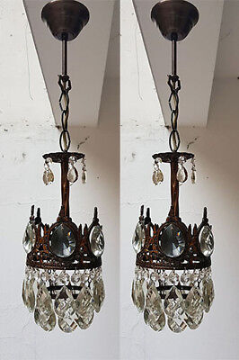 Pair of Antique French Basket Style Brass & Crystals small Chandeliers from 1950