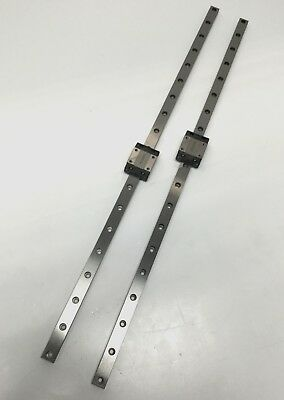 Lot of 2 THK SRS12M Linear Motion Ball Bearing Carriages on 450mm Guide Rails