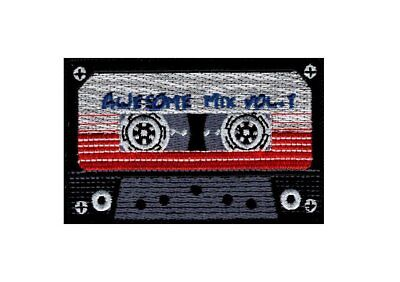 Awesome Mix Tape Cassette Retro 80's 70's Embroidered  HOOK PATCH