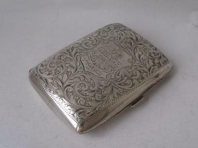 Pretty Antique Hand-Engraved Solid Sterling Silver Cigarette Case 1908/ L 8 cm