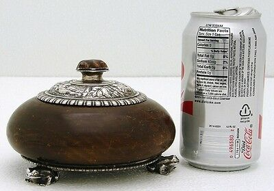 Carved Wood Box with German Solid Silver Top & Base w Fig Frog & Amber Finial