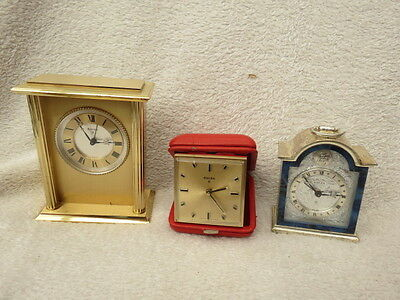 X 3 Vintage Working Swiza Alarm, Carriage, And Travel Clocks For Tlc