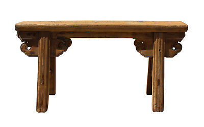 Vintage Chinese Slim Carving Apron Wood Seating Bench cs3176