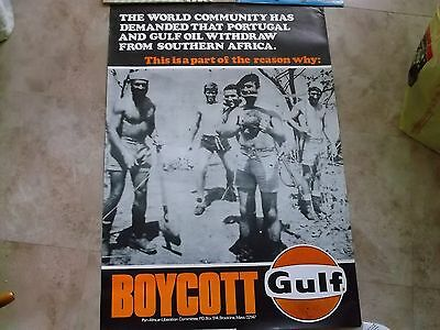 "Orig BOYCOTT GULF Pan-African Liberation POSTER 24"" x 35"" ""LAST ONE"" & RARE PIN"