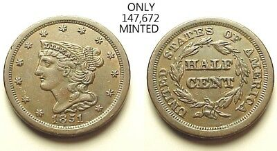 Sharp Unc 1851 Braided Hair Half Cent-Low Mintage-Great Color!  Free Shipping!