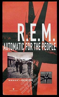 1992 REM R.E.M. photo Automatic for the People album release vintage print ad