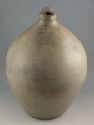 Wonderful Antique 2 Gallon Stoneware Ovoid Jug By T. Crafts, Whately Ma