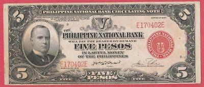 1937 Philippines 5 Peso Note