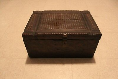 RARE Antique Wooden Box Hand Made Tramp Art Style Top Primitive Hand Made
