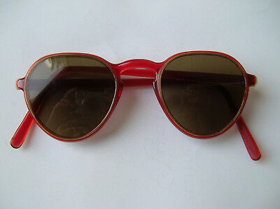 Vintage 1940s SUNGLASSES Clear CHERRY RED Frame Women's RARE RARE