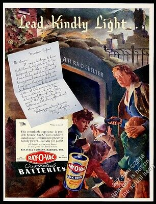 1943 air raid shelter England WWII art Ray-O-Vac battery vintage print ad