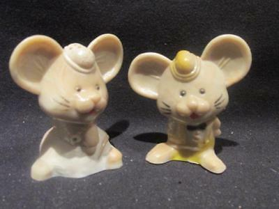 Boy & Girl Mouse Vintage Plastic Salt & Pepper Shakers with Stoppers