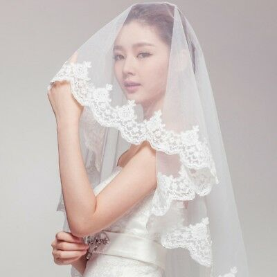 2T Wedding Bridal Veil Dress Satin Lace Edge Elbow With Comb White Ivory Veils