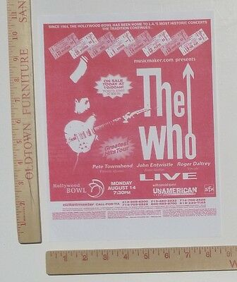 The Who UnAmerican Concert Flyer Handbill Hollywood Bowl Los Angeles 2000