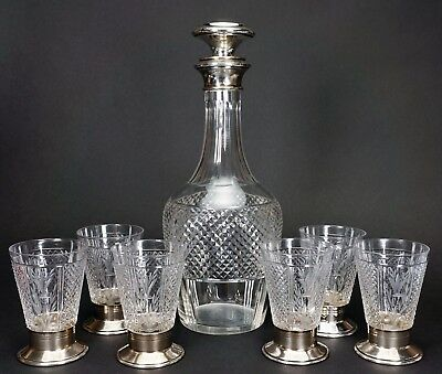 Antique French Diamond Point Cut Crystal Glass Decanter & 6 Cordials 800 Silver