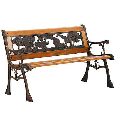 Patio Garden Bench Park Porch Chair Cast Iron Hardwood Furniture Animals 335