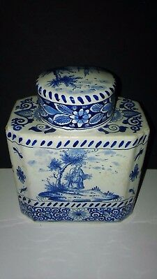 Antique Blue Transferware Jar with Lid ~ Container ~~Marked