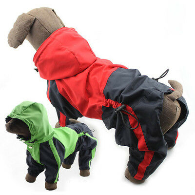 Dog Hooded Waterproof Rain Coat Dog supplies Dog Trouser Suit Clothes Lots Size