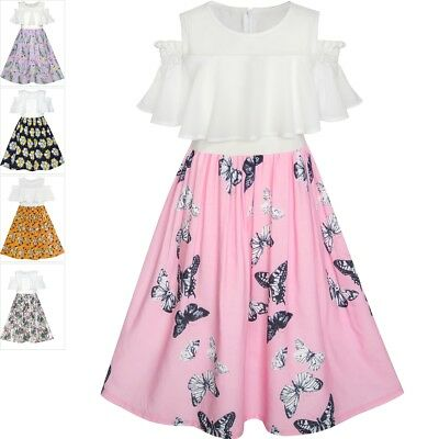Girls Dress Chiffon Butterfly Ruffle Cold shoulder White Pink Size 7-14
